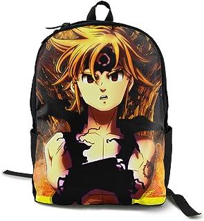 The Seven Deadly Sins-MELIODAS Anime Cartoon Cosplay Canvas Shoulder Bag Backpack Mochilas de Viaje Ligeras únicas Mochila Escolar Mochila para computadora portátil