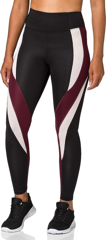 Amazon Brand - AURIQUE Women's High Waisted Colour Block Sports Leggings