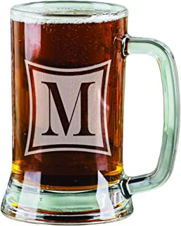 16 Oz One Letter Monogram Beer Stein Laser Engraved Monogrammed Beer Mug Glass