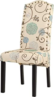 Elicico Modern Dining Chair, Solid Wood Fufted Dining Chair Furniture with Sturdy Wooden Legs Set of 2 (Beige&Floral)