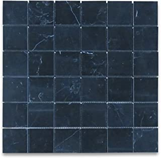 Nero Marquina Black Marble Square Mosaic Tile 2 x 2 Polished