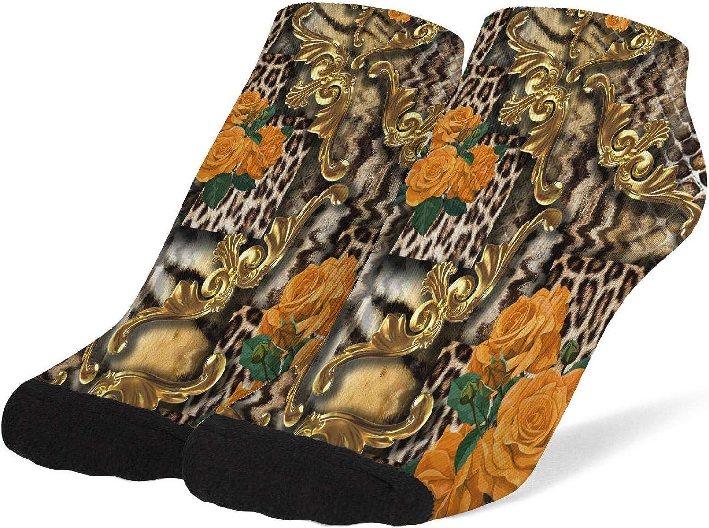Women Striped Leopard Flower Animal Camouflage Socks Cotton No Show Low Cut Socks Ankle Socks