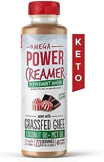 Omega PowerCreamer - Peppermint Mocha Keto Coffee Creamer - Grass-fed Ghee, MCT Oil, Organic Coconut Oil, Stevia - Liquid Butter Blend - Paleo, Ketogenic, Zero Carb, Sugar Free, 10 fl oz (20 servings)
