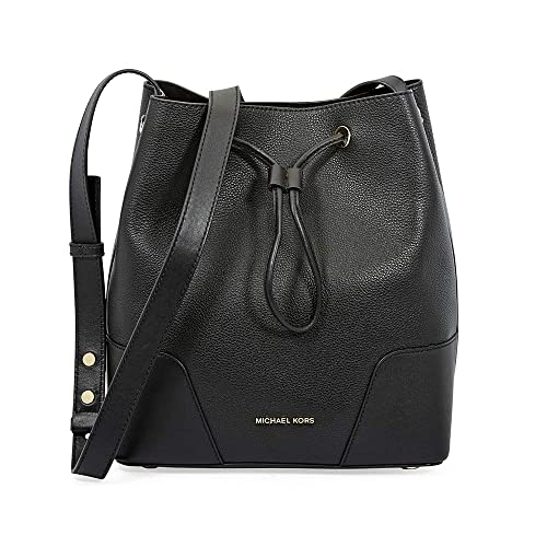 6820a408a5320 Michael Kors Pebbled Leather Bucket Bag- Black