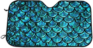 Oswz Mermaid Scales Windshield Sunshade for Car Foldable UV Ray Reflector Auto Front Window Sun Shade Visor Shield Cover, Keeps Vehicle Cool (51