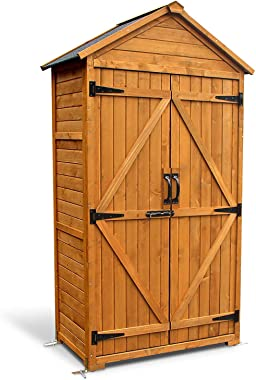 MCombo Outdoor Wooden Storage Cabinet Backyard Garden Shed Tool Sheds Utility Organizer with Lockable Double Doors 1000 (Natu