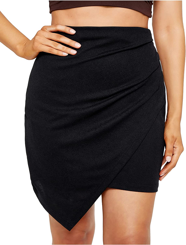 SheIn Women's Elegant High Waist Wrap Asymmetrical Hem Solid Skirt