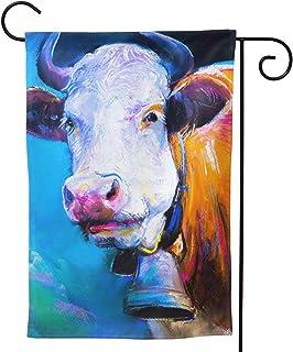 Farm Cow Moo Garden Flag Double Sided Vertical House Flags Farm Cow Moo Yard Signs Outdoor Decor 12.5 X 18 Inch