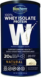 Biochem 100% Whey Isolate Protein - Natural Flavor - 12.3 Ounce, Preworkout & Immune Health - 20g Vegetarian Protein - Easily Digestible - Refreshing Taste - Keto Friendly & Easy To Mix