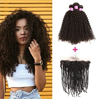 ISEE Hair 8A Brazilian Remy Virgin Hair Deep Curly Human Hair with 13x4 Frontal Brazilian Curly Hair Lace Frontal Closure with Bundles (22 24 26+20 frontal, Natural Color)