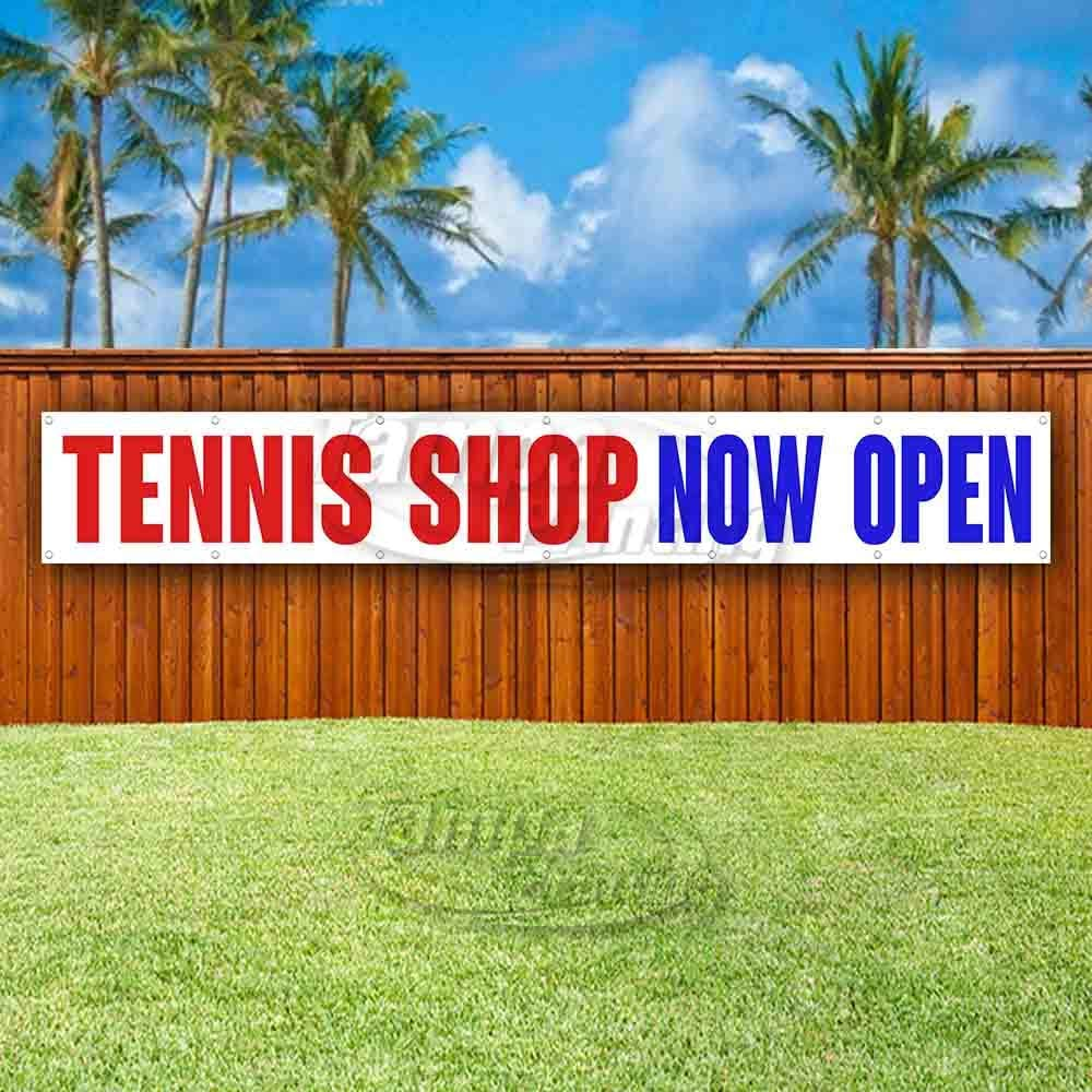 Non-Fabric Heavy-Duty Vinyl Single-Sided with Metal Grommets Tennis Shop Now Open Extra Large 13 oz Banner