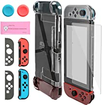 Pakesi Dockable Case for Nintendo Switch, Accessories Shell Cover Compatible for Console and Hard PC Grip Case Compatible for Joy-Con with 2 Thumb Grips Cap and Tempered Glass Screen Protector-Black