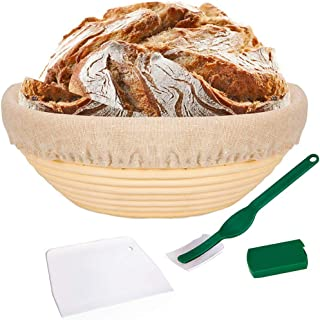 TOOGOO 10 Inch Bread Proofing Basket - Banneton Proofing Basket + Cloth Liner + Dough Scraper + Bread Lame - Sourdough Bas...