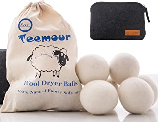 Wool Dryer Balls by Teemour Pack of 6 XL Organic Natural Fabric Softener Laundry Dryer Ball Bonus Pouch Free Gift White