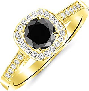 1.75 Carat Graduating Classic Cushion Halo Prong and Pave-Set Diamond Engagement Ring 14K Gold with a 1.5 Carat Round Cut AAA Quality Black Diamond (Heirloom Quality)