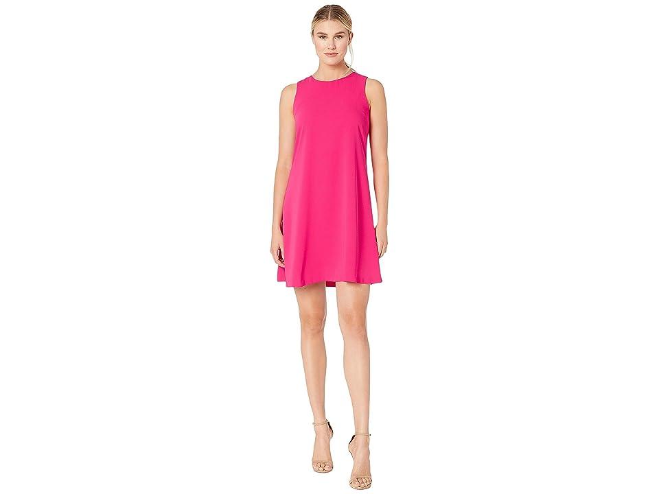 Nine West Soft Crepe Sleeveless Trapeze Dress (Rhubarb) Women