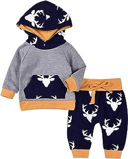 MEKILYN 2PCs Baby Deer Print Hoodies with Pocket Top + Long Pants Autumn Outfit Set