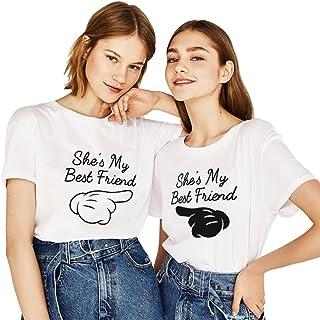 Mejores Amigas Camiseta Impresión She's My Best Friend Shirts 2 Piezas Algodón T-Shirts Dedo Manga Corta Cuello Redondo Verano para Mujer