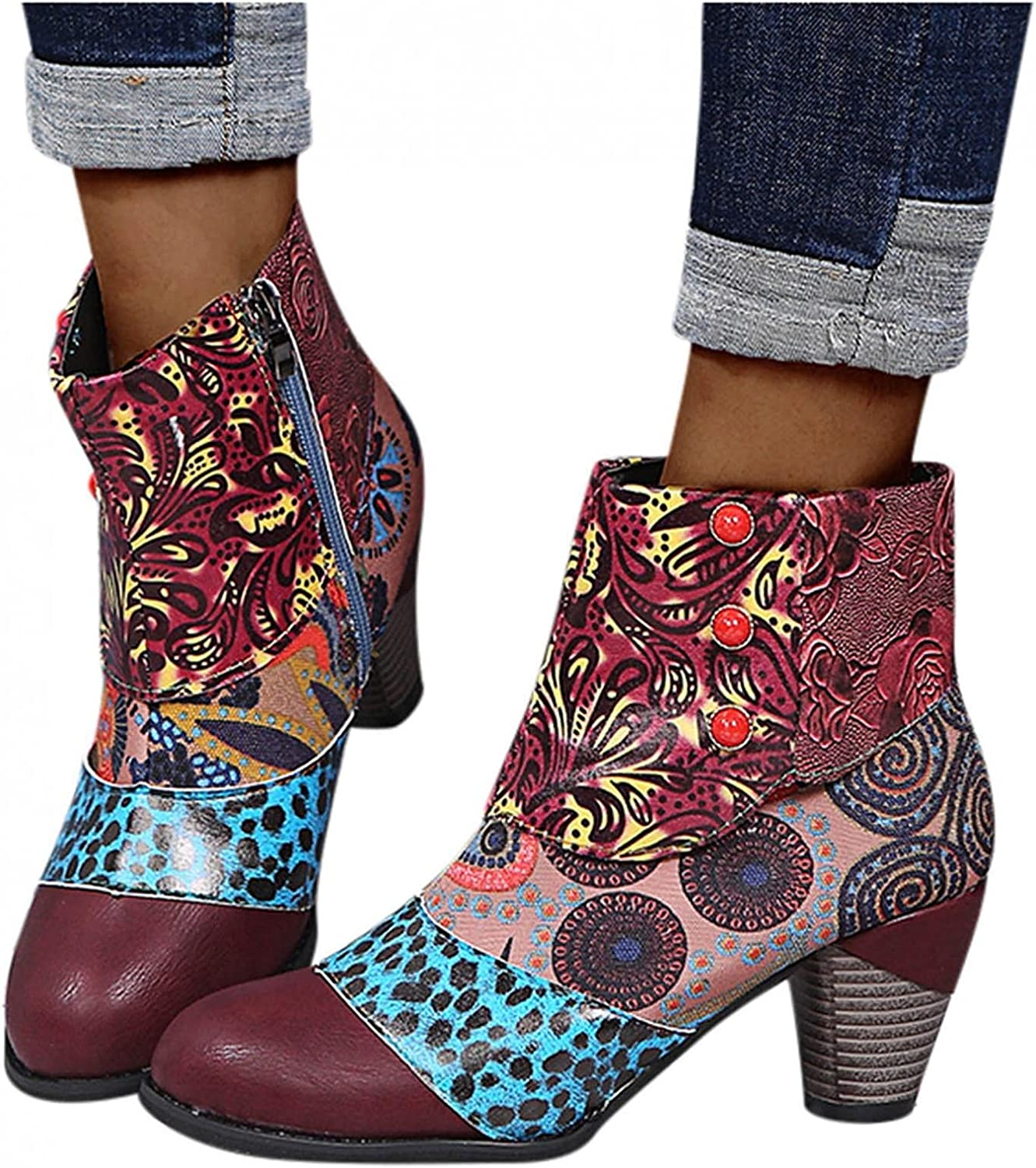 Boots for Women,Womens Lace Up Ankle Short Booties Classic Boots Closed-Toe Motorcycle Low Heel Boots Western Shoes
