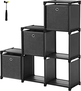 SONGMICS Cube Storage, 6-Cube Bookcase, Ladder Storage Unit with 3 Storage Boxes, DIY Closet Organizer, Sturdy Metal Frame, Includes Rubber Mallet, 41.3 x 11.8 x 41.3 Inches, Black ULSN23BK