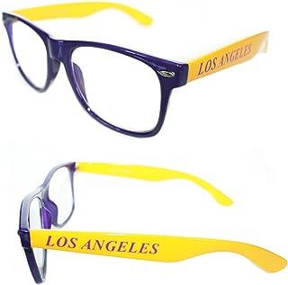 0dcfa37eb8e4 Men s Women s Los Angeles Purple Yellow Clear Lens Eye Glasses Wayfarer  Horn Rimmed