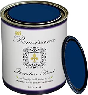 Renaissance Chalk Finish Paint - Black Indigo 1 Pint (16oz) - Chalk Furniture & Cabinet Paint - Non Toxic, Eco-Friendly, Superior Coverage