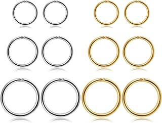 Jstyle 12Pcs 16G Stainless Steel Improved Hinged Clicker Segment Nose Rings Hoop Helix Cartilage Daith Tragus Sleeper Earr...