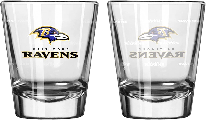 Baltimore Ravens Shot Glass  2 Pack Satin Etch