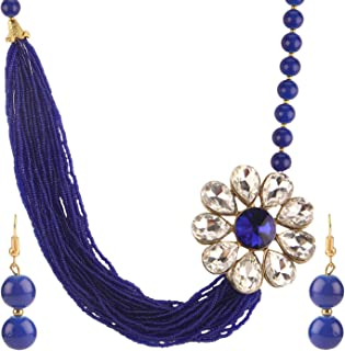 Fashion Chunky Multi Layered Faux Pearl Crystal Floral Statement Necklace Earrings Costume Jewelry Set (Color Options)