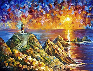 Far Hills — hand painted oil painting on canvas Lighthouse Sea Ocean by Leonid Afremov Studio. Hills art. Hills painting. Hills wall art. Hills wall decor. Hills decor. Hills canvas