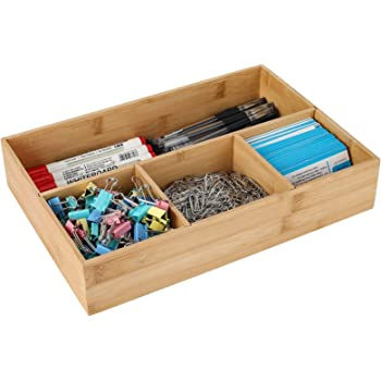 TQVAI Natural Bamboo Desktop Drawer Organizer 4 Compartment Workspace Supplies Storage Tray, Original