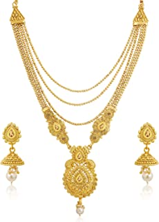 Sukkhi Glimmery LCT Gold Plated Wedding Jewellery Pearl Long Haram Necklace Set For Women (N83790)