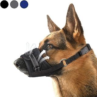 Dog Muzzle,Nylon Soft Dog Muzzle for Large Dog,Breathable Mesh Dog Muzzle for Barking Biting and Chewing,Reflective Large ...