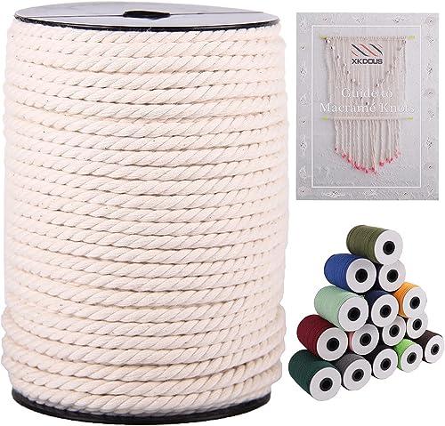 XKDOUS Macrame Cord 5mm x 100Yards, Natural Cotton Macrame Cotton Cord, 3 Strand Twisted Macrame Rope for Wall Hangin...