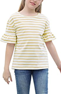 GORLYA Girls Ruffle Trim Half Sleeve Stripe Blouse Casual Drop Shoulder Tee Shirt Cotton Tops 4-14T