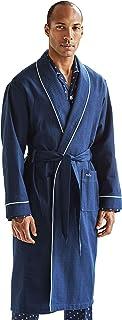Savile Row Men's Dressing Gown - Cotton Soft Lightweight Elegant Mens Kimono Bathrobe