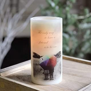 """Norman Rockwell Friends Sentiments Flameless Candle with Timer 6"""" LED Real Wax Candle"""