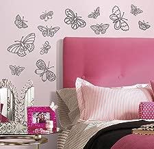 Asian Paints Nilaya Glitter Butterflies Wall Stickers (Grey)