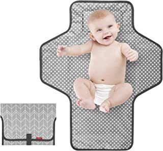 Portable Changing Pad for Baby|Travel baby changing pads for Moms, Dads|Waterproof Portable Changing Mat with Built-in Pil...