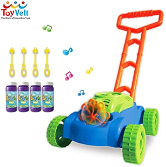 ToyVelt Bubble Lawn Mower for Kids - Automatic Bubble Machine with Music Sounds Best Toys for Toddlers Plus 4 x Bottl...