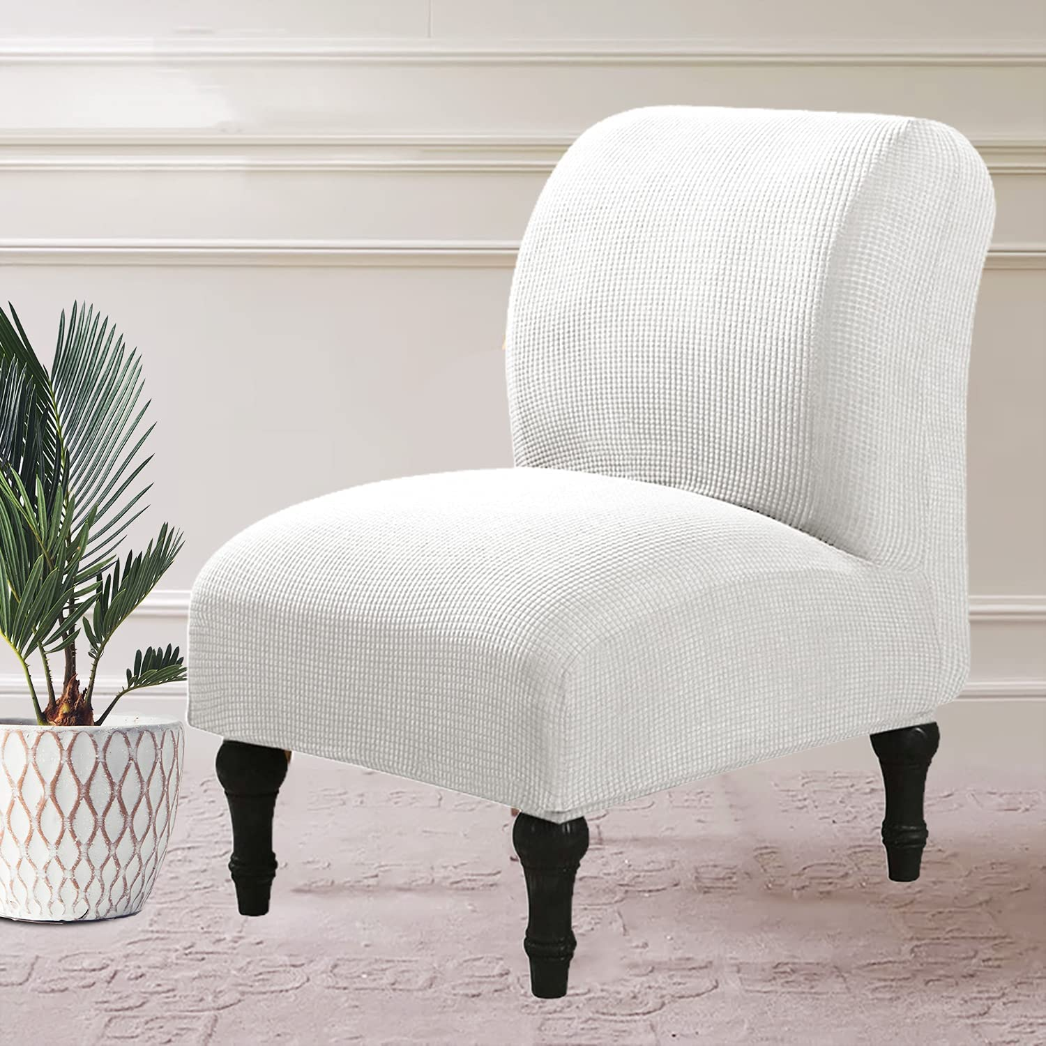 Stretch Max 88% OFF Jacquard Armless 100% quality warranty! Accent Chair Spandex Armles White Cover