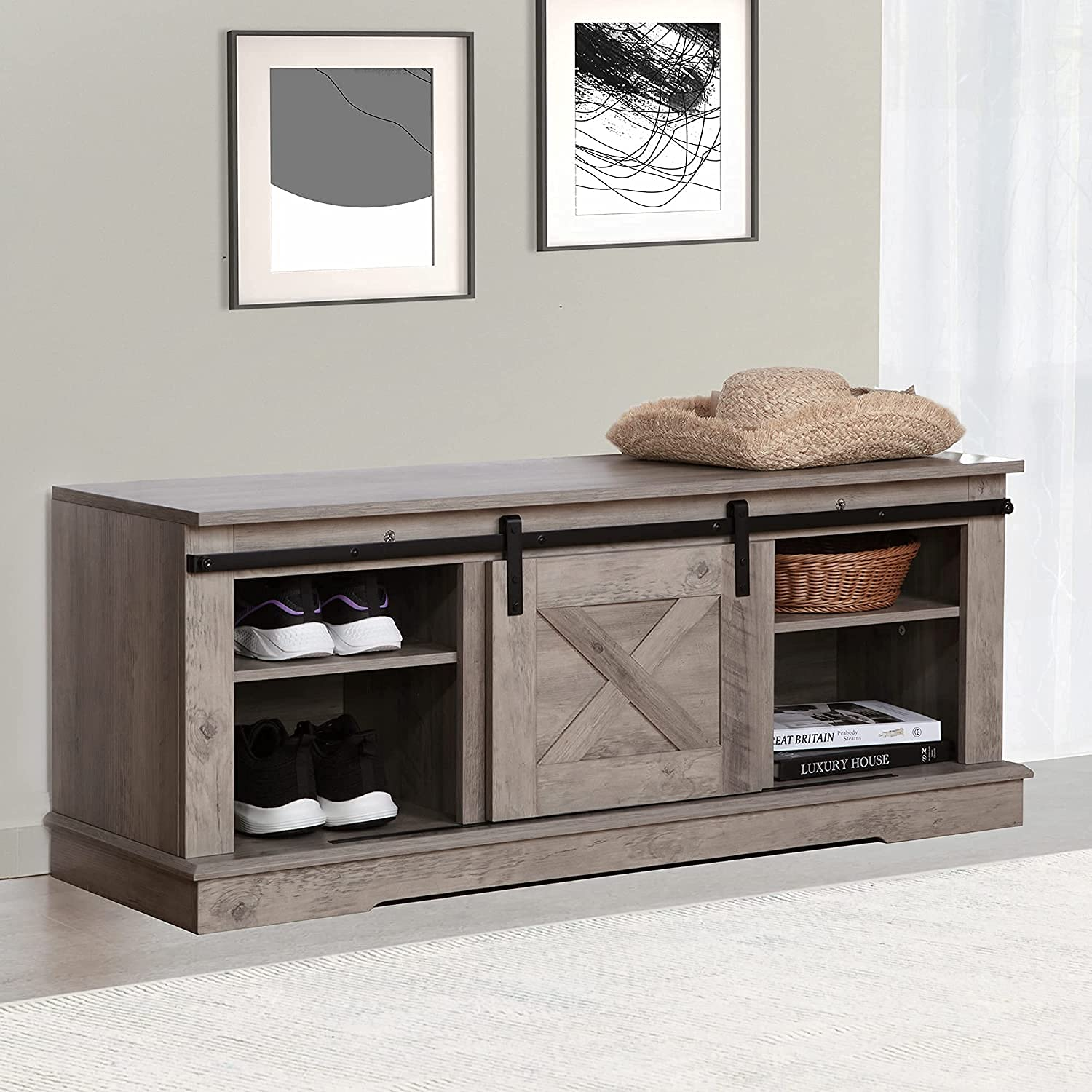 Shoe Storage Bench Farmhouse Sliding Barn 5% OFF Door Entryway S Outlet sale feature