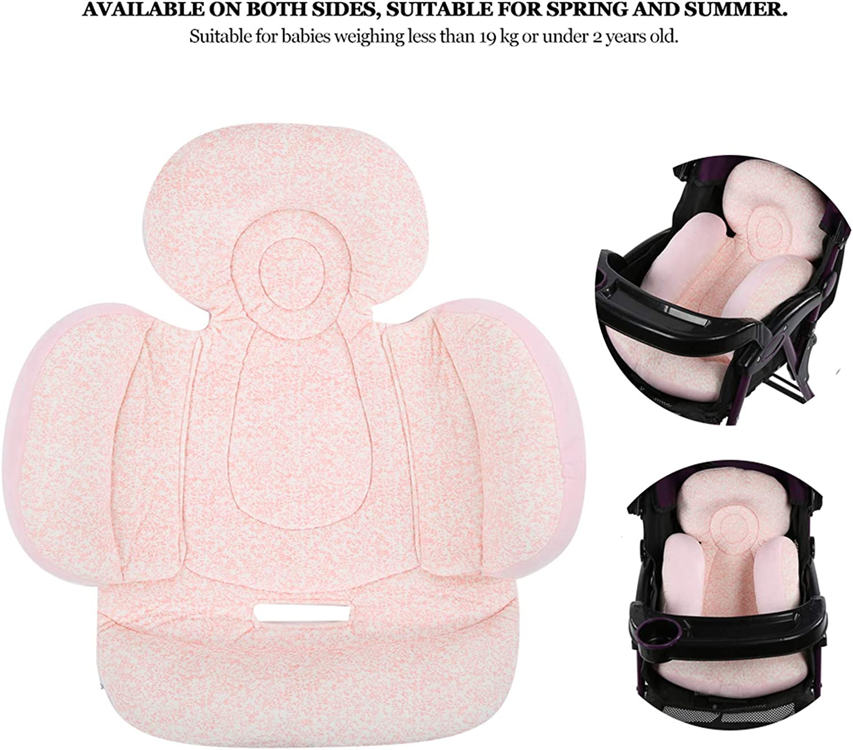 Coussin de poussette double côtés pour bébé, support de tête de bébé en forme de U PIillow, coussin de siège d'auto pour nouveau-né lavable en machine, pour 4 saisons(Rose) Rose