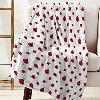 DaringOne Comfy Plush Fleece Throw Blanket 40x50 inch Cartoon Soft Coach Blanket Lightweight Stadium Blanket Red Lady Ladybugs Cute Ladybird White Background