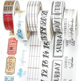 PuTwo Washi Tape, Masking Tape 6 Rouleaux, 15mm Ruban Adhésif Décoratif, Washi Tape Japonais en Washi, Ruban Adhésif en Wa...