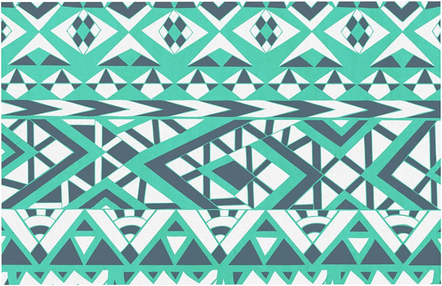 Kess InHouse Pom Graphic Design Tribal Simplicity  Pet Bowl Placemat for Dog and Cat Feeding Mat, 24 by 15Inch, Teal