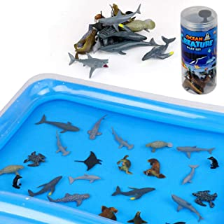 Winsenpro Bath Toys,24PCS Sea Animal with Inflatable Water Mat for Party Birthday Gifts,Realistic Sea Ocean Animals Creatu...
