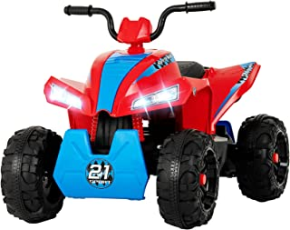 Uenjoy 12V Kids ATV 4 Wheeler Ride On Quad Battery Powered Electric ATV for Kids, 2 Speeds, Wheels Suspension, LED Lights, Music, Red Blue