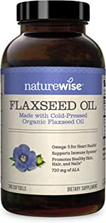NatureWise Organic Flaxseed Oil Max 720mg ALA | Highest Potency Flax Oil Omega 3 for Cardiovascular, Brain, Immune Support...
