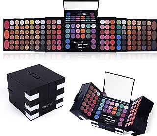 All In One Makeup Kit 142 Ultimate Colors Matte Shimmer Eyeshadow Palette Colorful Gift 3 رژگونه 3 قلم مو اسفنجی 3 پودر ابرو لوازم آرایشی حرفه ای مد آرایش زنانه کیس کامل آرایش پالت سایه چشم